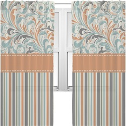Orange Blue Swirls & Stripes Sheer Curtains (Personalized)