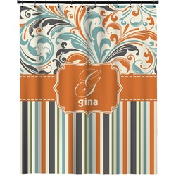 "Orange Blue Swirls & Stripes Extra Long Shower Curtain - 70""x84"" (Personalized)"