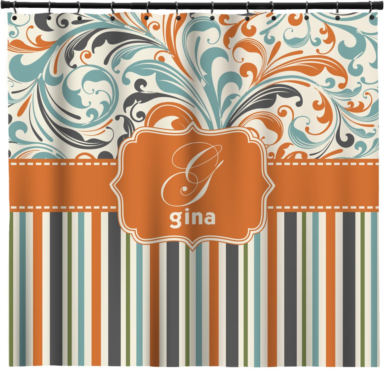 Orange Blue Swirls Amp Stripes Shower Curtain Personalized