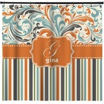 Orange Blue Swirls & Stripes Shower Curtain (Personalized)