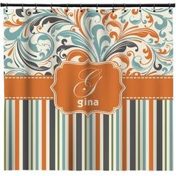 Orange Blue Swirls & Stripes Shower Curtain (Personalized)