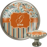 Orange Blue Swirls & Stripes Cabinet Knob (Silver) (Personalized)