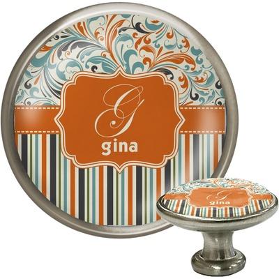 Orange Blue Swirls & Stripes Cabinet Knob (Silver) (Personalized)