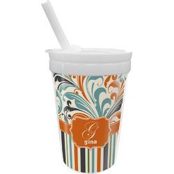 Orange Blue Swirls & Stripes Sippy Cup with Straw (Personalized)