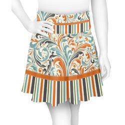 Orange Blue Swirls & Stripes Skater Skirt (Personalized)