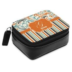 Orange Blue Swirls & Stripes Small Leatherette Travel Pill Case (Personalized)