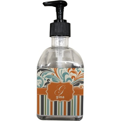 Orange Blue Swirls & Stripes Soap/Lotion Dispenser (Glass) (Personalized)