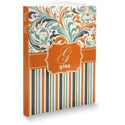 Orange Blue Swirls & Stripes Softbound Notebook (Personalized)