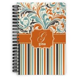 Orange Blue Swirls & Stripes Spiral Bound Notebook (Personalized)