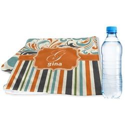 Orange Blue Swirls & Stripes Sports Towel (Personalized)