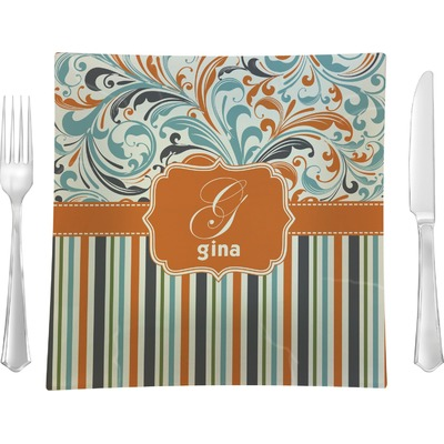 """Orange Blue Swirls & Stripes 9.5"""" Glass Square Lunch / Dinner Plate- Single or Set of 4 (Personalized)"""