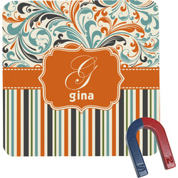 Orange Blue Swirls & Stripes Square Fridge Magnet (Personalized)