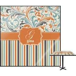 Orange Blue Swirls & Stripes Square Table Top (Personalized)