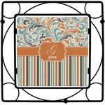 Orange Blue Swirls & Stripes Square Trivet (Personalized)