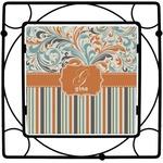 Orange Blue Swirls & Stripes Square Trivet (Personalized)