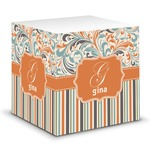 Orange Blue Swirls & Stripes Sticky Note Cube (Personalized)