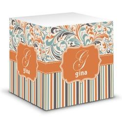 Orange Blue Swirls & Stripes Sticky Note Cube (Personalized)