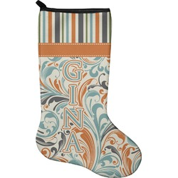 Orange Blue Swirls & Stripes Christmas Stocking - Neoprene (Personalized)