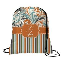 Orange Blue Swirls & Stripes Drawstring Backpack (Personalized)