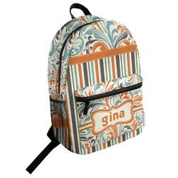 Orange Blue Swirls & Stripes Student Backpack (Personalized)