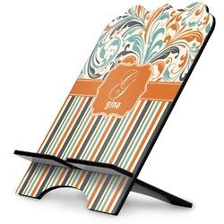 Orange Blue Swirls & Stripes Stylized Tablet Stand (Personalized)