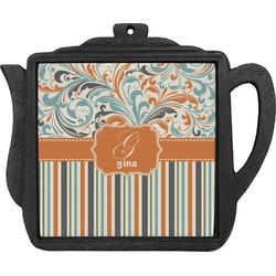 Orange Blue Swirls & Stripes Teapot Trivet (Personalized)