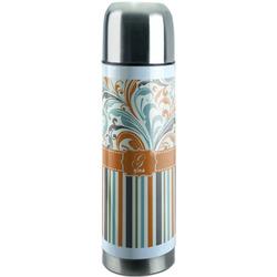 Orange Blue Swirls & Stripes Stainless Steel Thermos (Personalized)