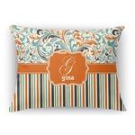 Orange Blue Swirls & Stripes Rectangular Throw Pillow Case (Personalized)