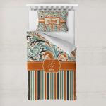 Orange Blue Swirls & Stripes Toddler Bedding w/ Name and Initial