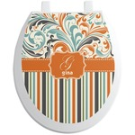 Orange Blue Swirls & Stripes Toilet Seat Decal (Personalized)