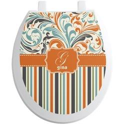 Orange Blue Swirls & Stripes Toilet Seat Decal (Personalized)