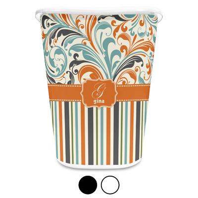 Orange Blue Swirls & Stripes Waste Basket (Personalized)