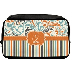 Orange Blue Swirls & Stripes Toiletry Bag / Dopp Kit (Personalized)