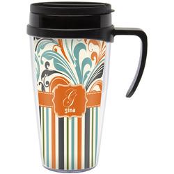 Orange Blue Swirls & Stripes Travel Mug with Handle (Personalized)