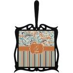 Orange Blue Swirls & Stripes Trivet with Handle (Personalized)