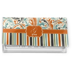 Orange Blue Swirls & Stripes Vinyl Checkbook Cover (Personalized)
