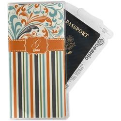 Orange Blue Swirls & Stripes Travel Document Holder