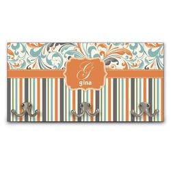 Orange Blue Swirls & Stripes Wall Mounted Coat Rack (Personalized)