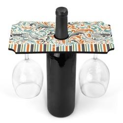 Orange Blue Swirls & Stripes Wine Bottle & Glass Holder (Personalized)