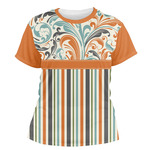 Orange Blue Swirls & Stripes Women's Crew T-Shirt (Personalized)