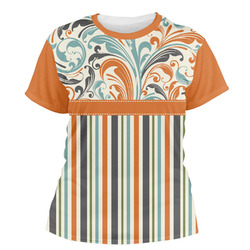 Orange Blue Swirls & Stripes Women's Crew T-Shirt (Personalized)