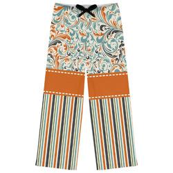Orange Blue Swirls & Stripes Womens Pajama Pants (Personalized)