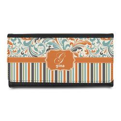 Orange Blue Swirls & Stripes Leatherette Ladies Wallet (Personalized)