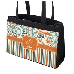 Orange Blue Swirls & Stripes Zippered Everyday Tote (Personalized)