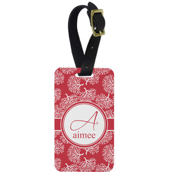 Coral Metal Luggage Tag w/ Name and Initial