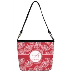 Coral Bucket Bag w/ Genuine Leather Trim (Personalized)