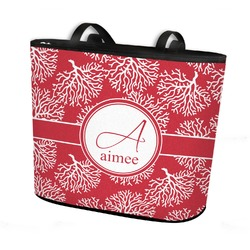 Coral Bucket Tote w/ Genuine Leather Trim (Personalized)