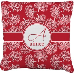 """Coral Faux-Linen Throw Pillow 16"""" (Personalized)"""