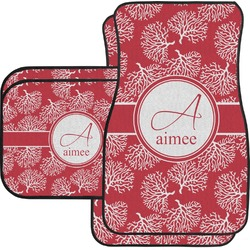 Coral Car Floor Mats Set - 2 Front & 2 Back (Personalized)