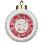 Coral Ceramic Ball Ornament (Personalized)